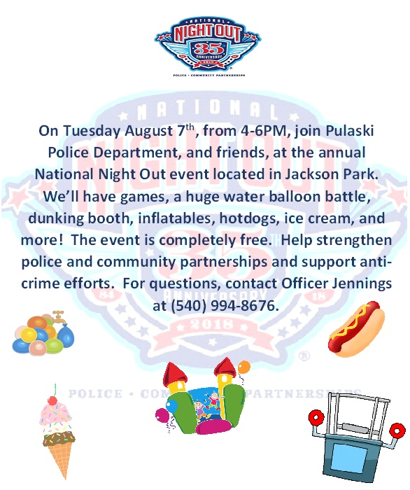 National Night Out set for Tuesday in Pulaski