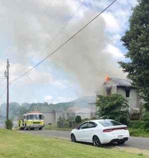 Firefighters battle house fire in Pulaski