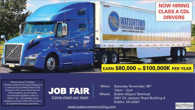 Watsontown Trucking is having a job fair