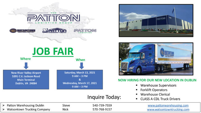 Patton Warehousing planning two-day job fair
