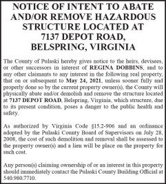 Notice of Intent to Abate and/or Remove Hazardous Structure
