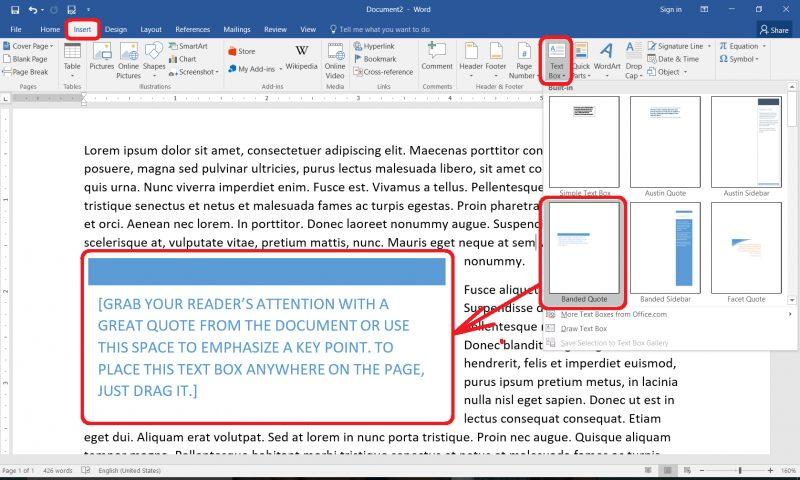 Dodavanje okvira s tekstom u Wordu