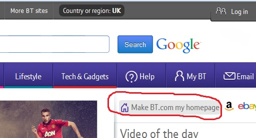 make BT your homepage