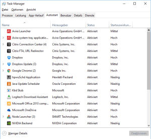 Autostart im Task-Manager in Windows 10 - Windows 10 Autostart Ordner