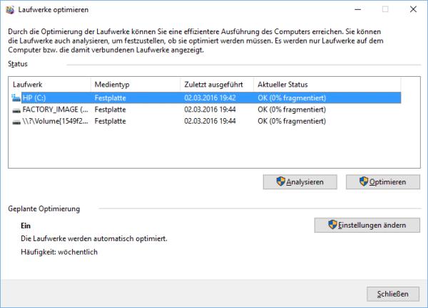 Defragmentierung in Windows 10
