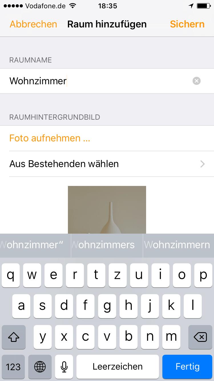 Home App - Raum hinzufügen