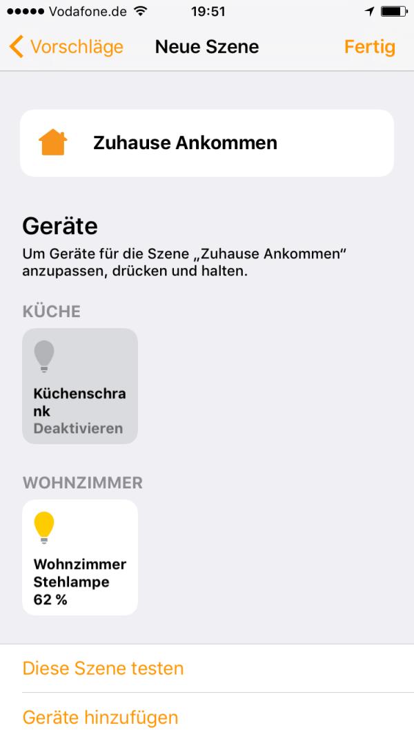 Apple Home App - Szenen einrichten