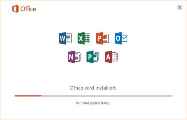 Office 2016 wird installiert