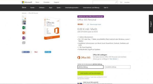 Online-Bestellvorgang von Office 365 Personal