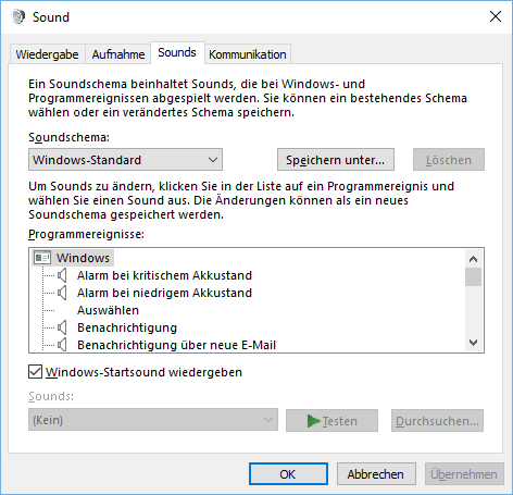 Sounds in Windows 10