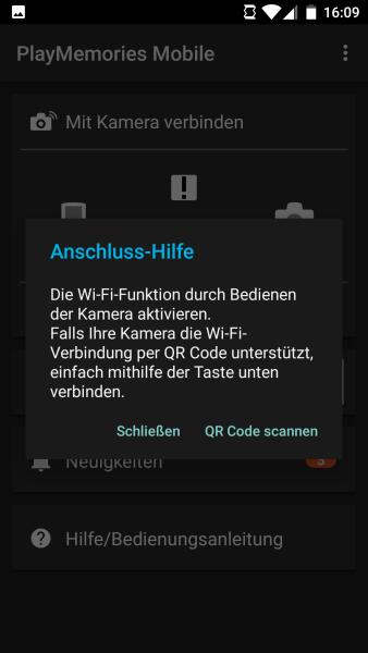 Anschluss-Hilfe für Sony Alpha in Android