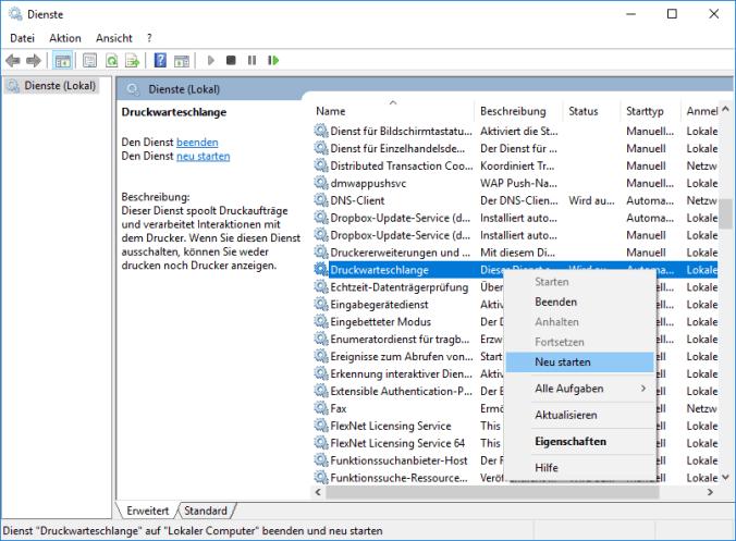 Windows 10 Druckerwarteschlange neu starten