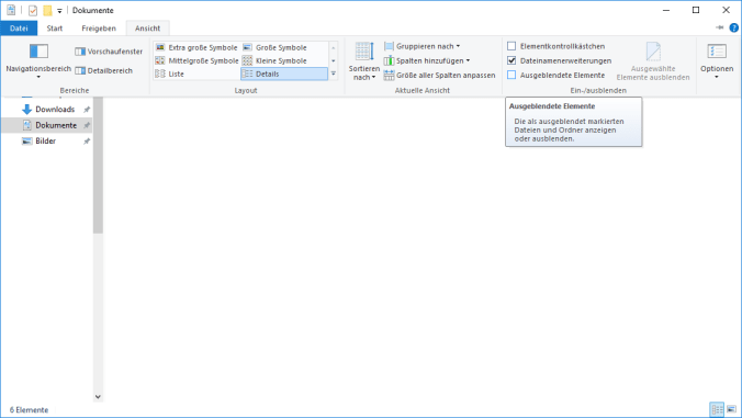 Ausgeblendete Elemente in Windows 10