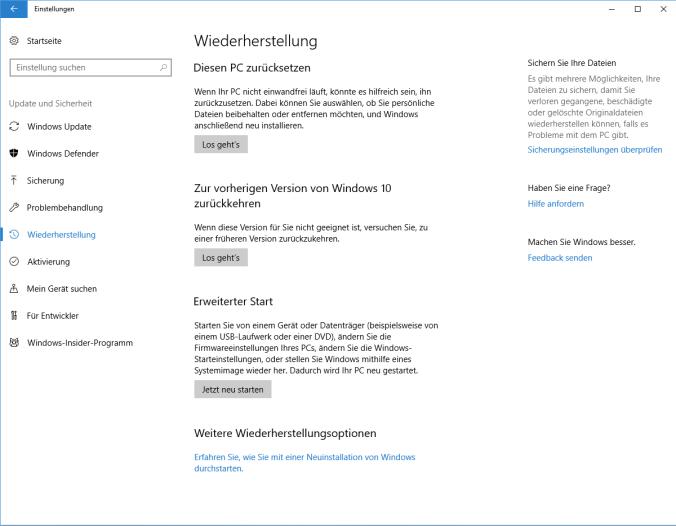 Windows 10 clean Install über Wiederherstellungen starten