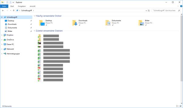 In Windows 10 zuletzt verwendete Dateien anzeigen