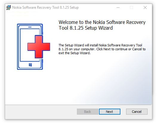Welcome to the Nokia Software Recovery Tool 8.1.25 setup Wizard