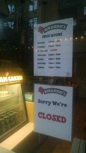Ben and Jerry's closed again!