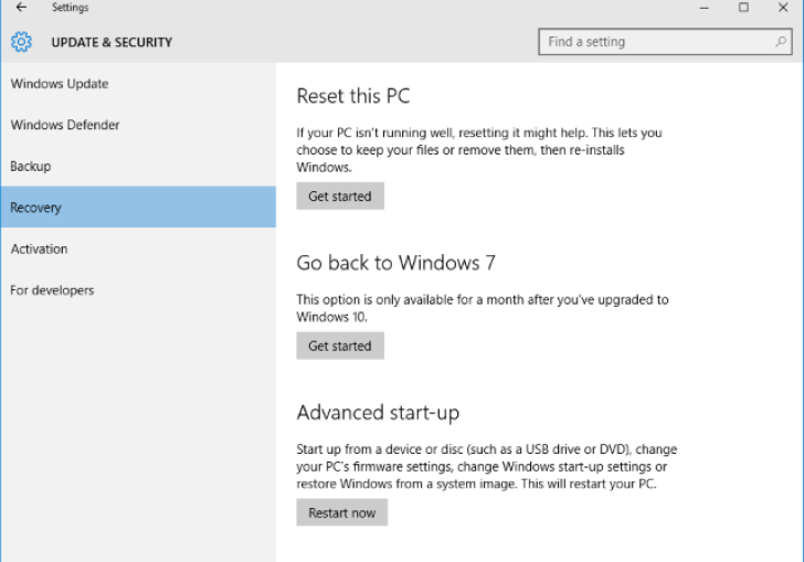 Go Back Feature In Windows 10
