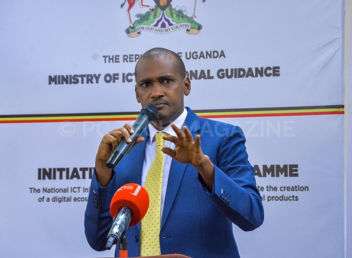 Minister of ICT and National Guidance; Hon. Frank Tumwebaze speaking at the NIISP award ceremony at the Ministry of ICT on Wednesday 26th, June 2019.
