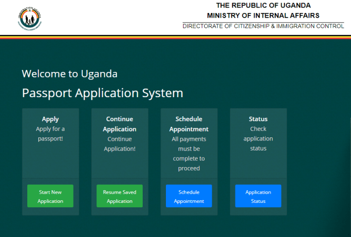 The portal gives four option; Apply for a passport, Continue application, Schedule an appointment, and Checking the status of your application.