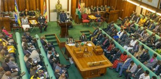 Sitting at Parliament of Uganda with Speaker Rebecca Kadaga. Courtesy Photo