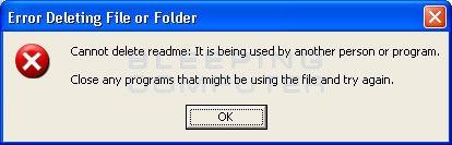 error deleting file