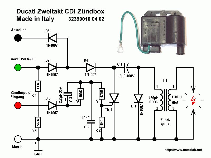 Aprilia RX 50: CDI kapcsolási rajza (kép)