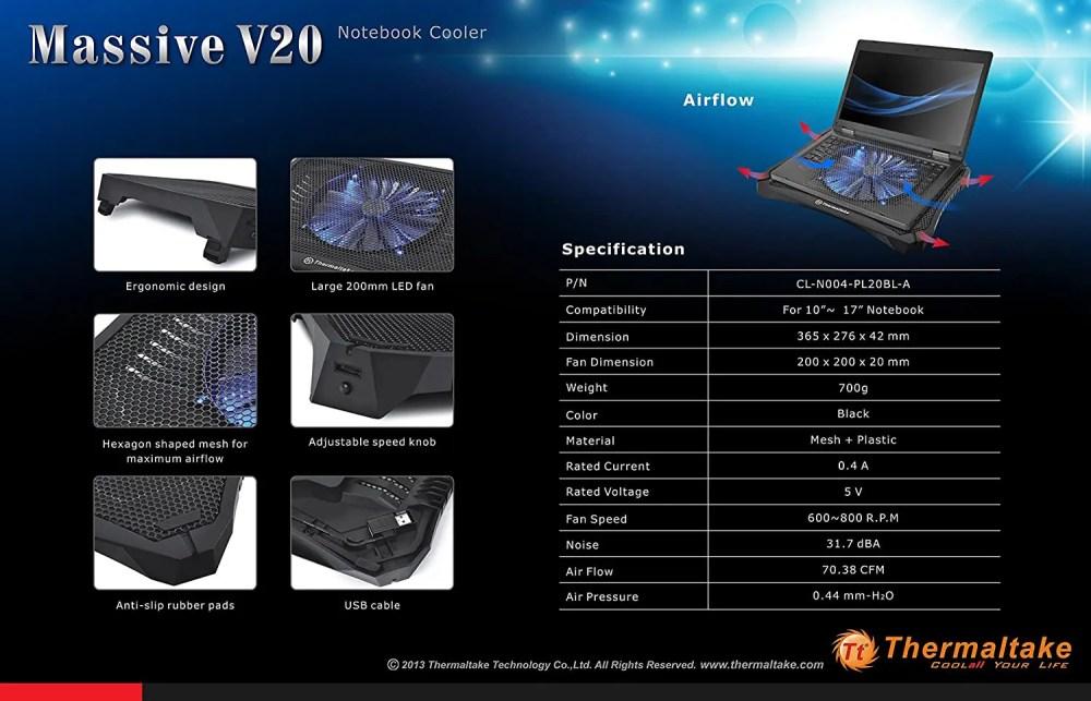 Thermaltake Massive V20 Laptop Cooler (Cl-N004-PL20BL-A)