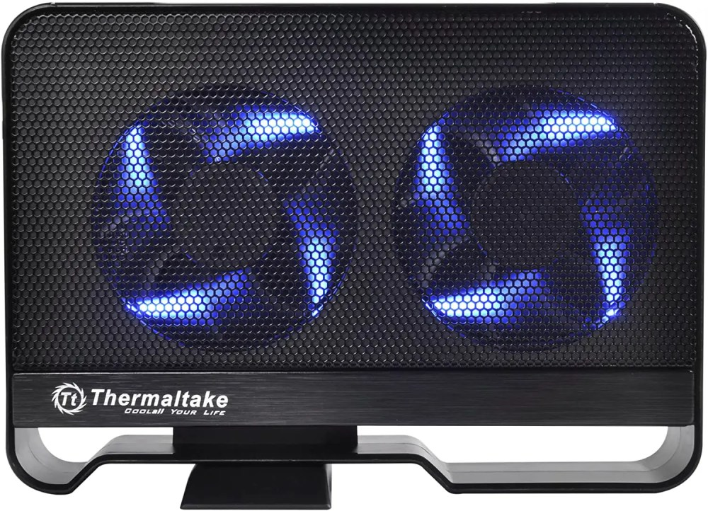 "Thermaltake Max 5 Active Cooling 3.5"" Hard Drive Enclosure with Dual 80 mm Blue LED Fans (ST0021U)"