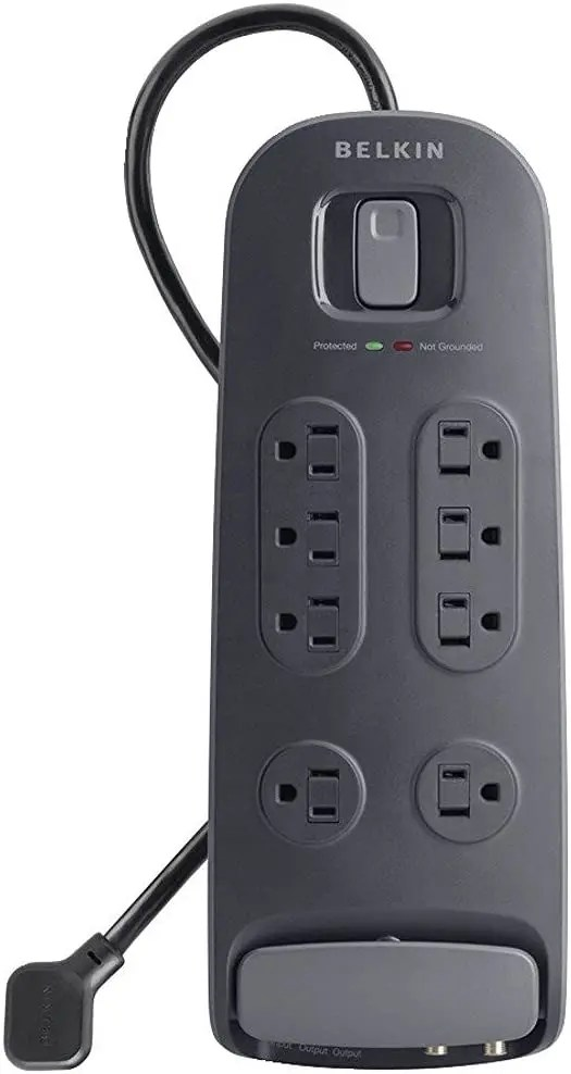 Belkin 8-Outlet Surge Protector with 6' Power Cord and Telephone and Cable/Satellite Protection (BV108230-06-BLK)