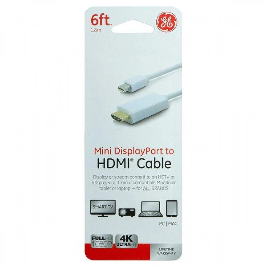 GE 6′ Mini DisplayPort to HDMI Cable (33771)