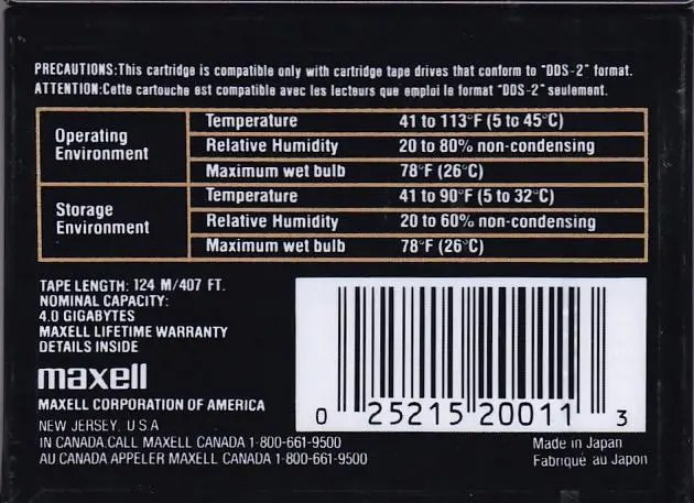 Maxell HS-4/120s Helical-Scan 4 mm 4 GB 120 m/407 ft Data Cartridge