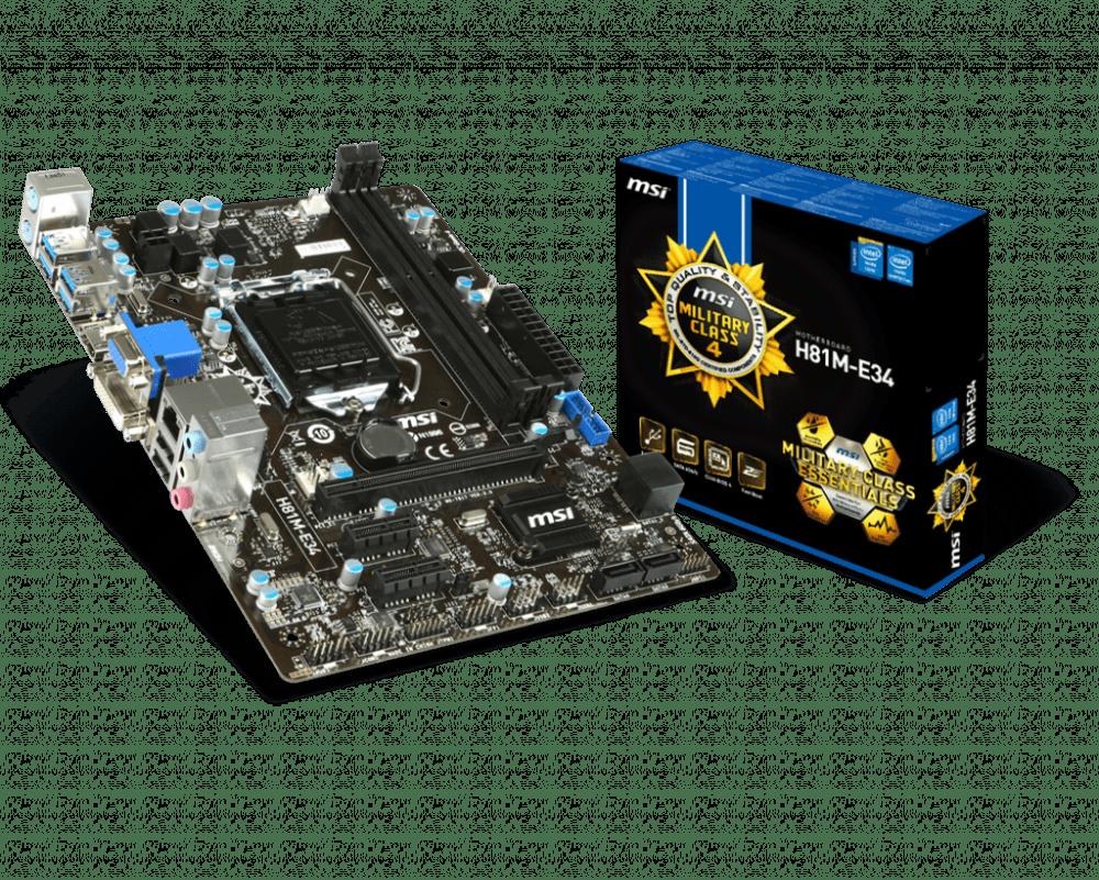 MSI H81M-E34 LGA 1150 Intel H81 HDMI SATA 6/GBs USB 3.0 Micro ATX Intel Motherboard