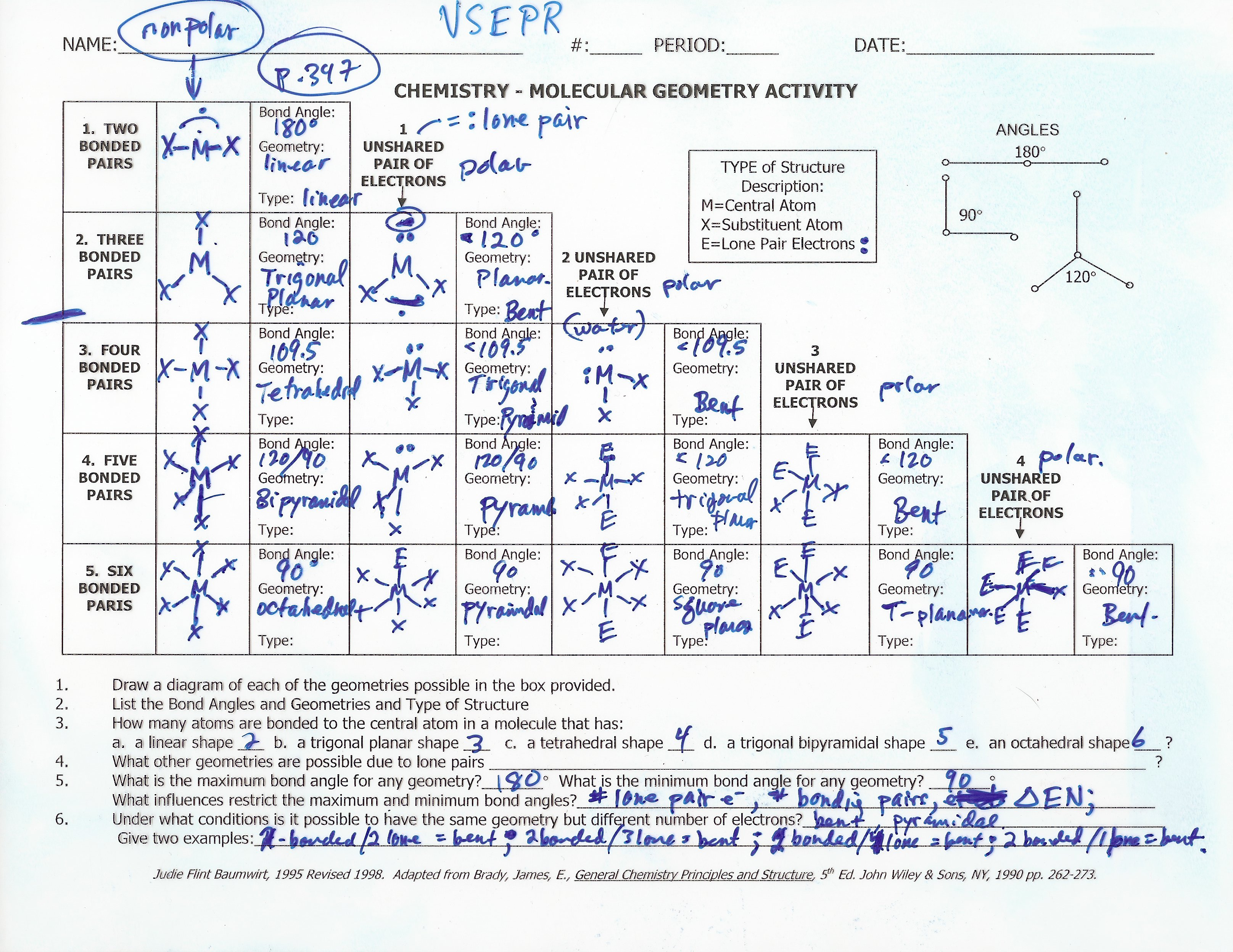 Molecular Geometry Vsepr Worksheet