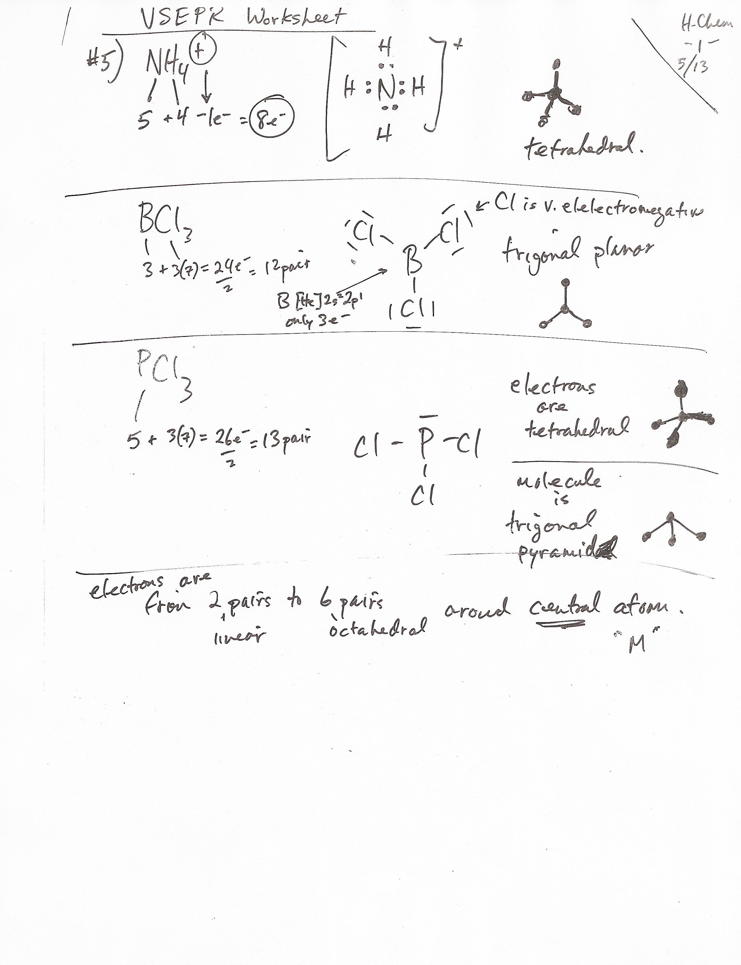 Molecular Geometry Worksheet Blank