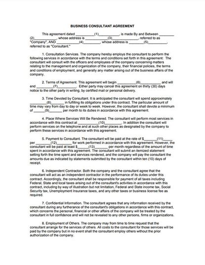 Free download business consultant agreement