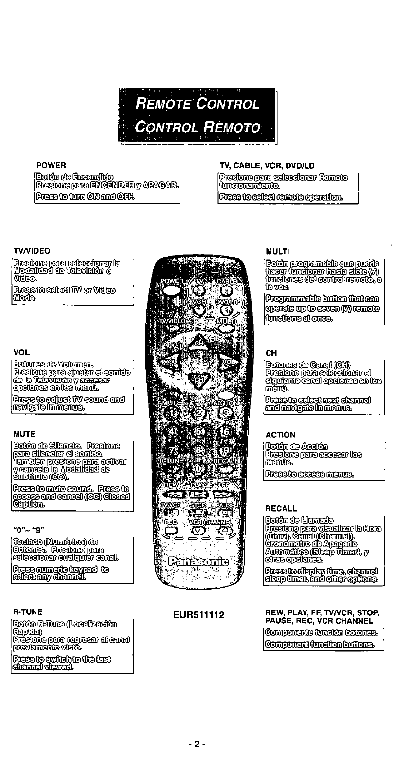 Page 2 of Panasonic Universal Remote EUR511112 User Guide