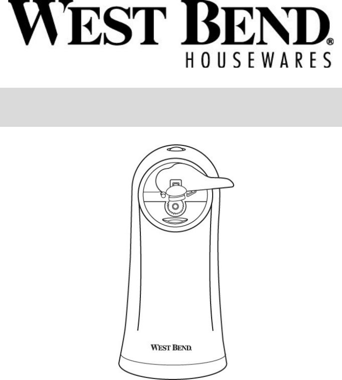 West Bend Can Opener Electric Can Opener User Guide