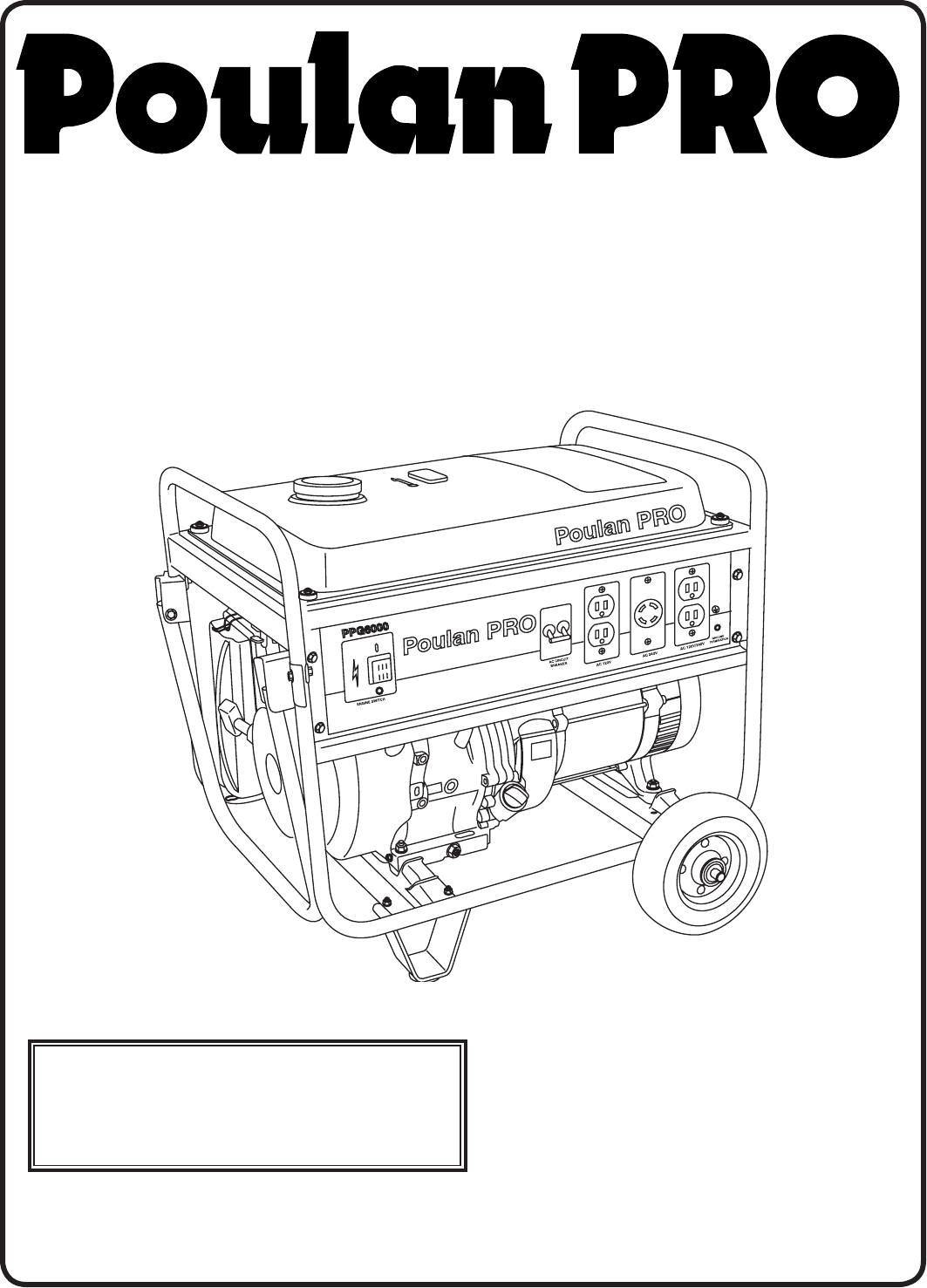 Poulan Portable Generator PPG 6000 User Guide