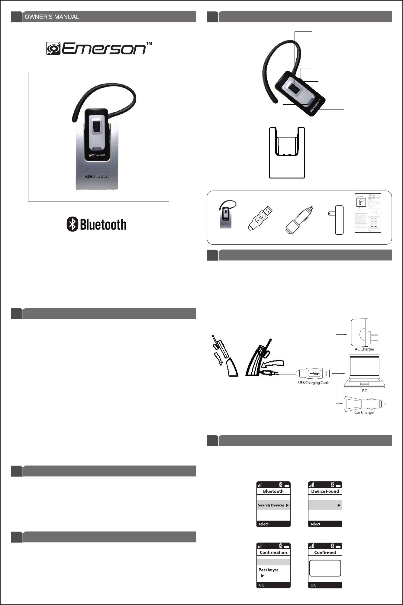 Emerson Bluetooth Headset EM-250 User Guide