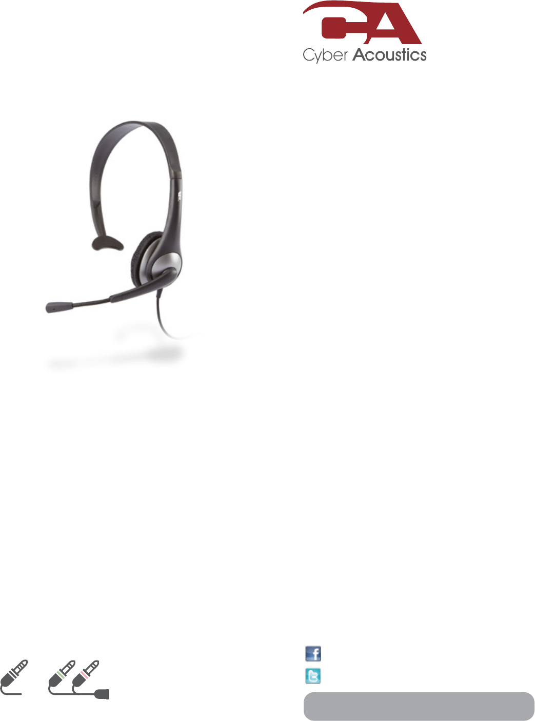 Cyber Acoustics Corded Headset AC-104 User Guide
