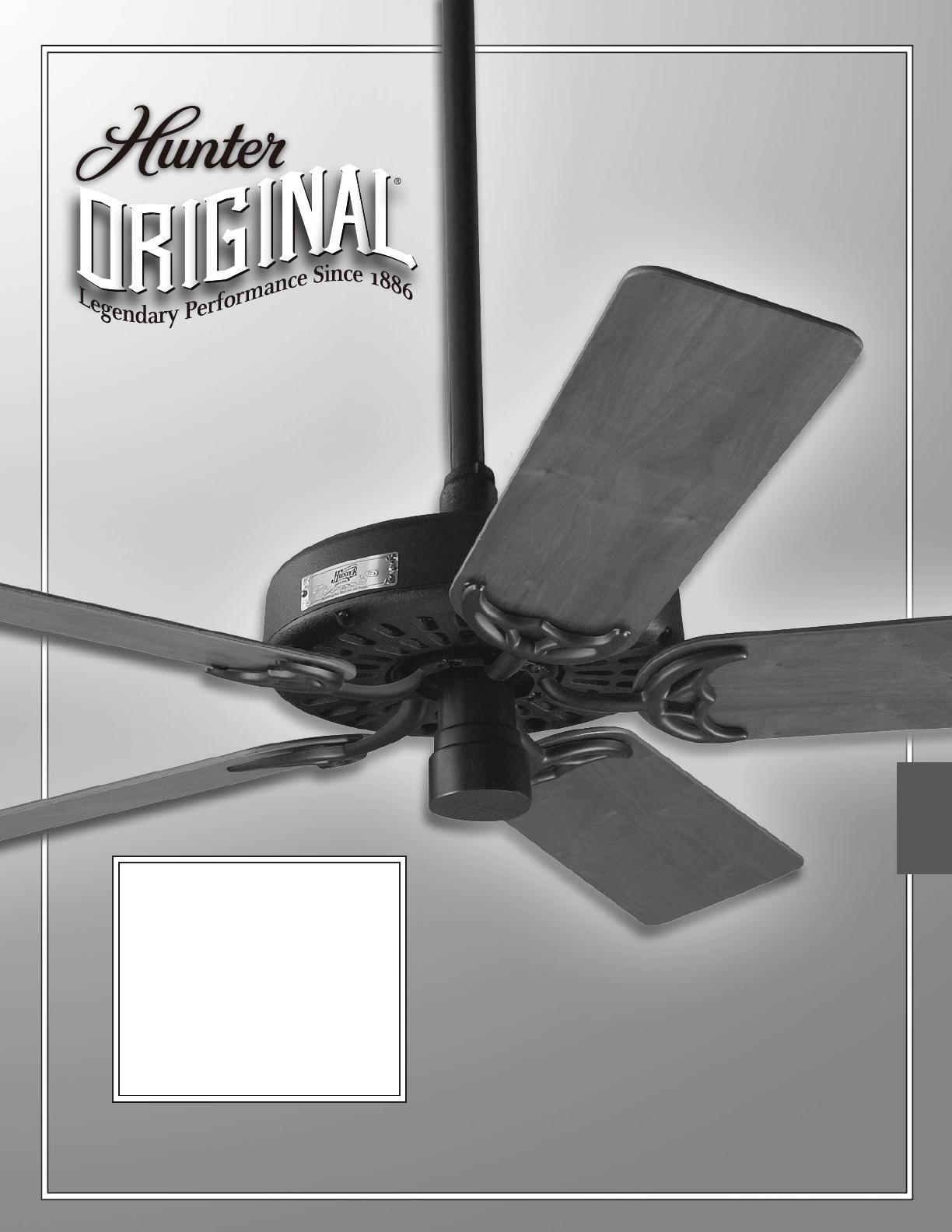 hight resolution of hunter fan fan 23838 user guide manualsonline com rh homeappliance manualsonline com ceiling fan speed switch wiring hunter ceiling fan capacitors