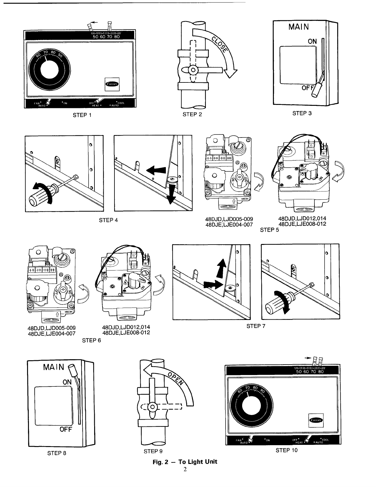 Page 2 of Carrier Heating System 48DJD User Guide