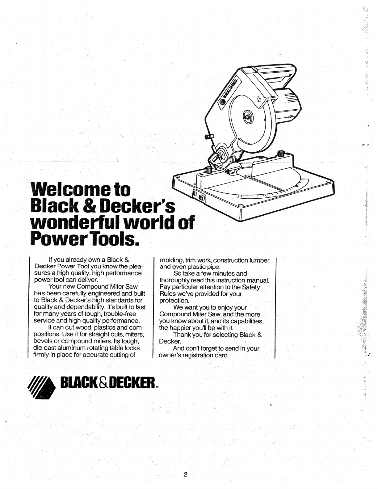 Page 2 of Black & Decker Saw 9425 User Guide