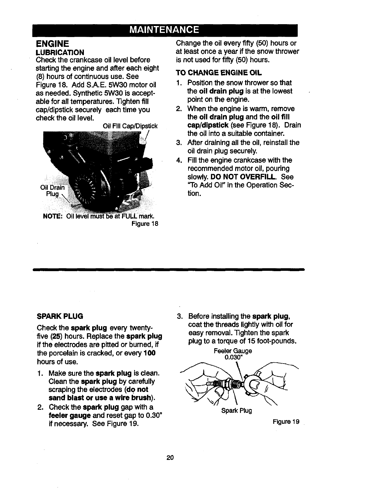 Page 20 of Craftsman Snow Blower 536881851 User Guide