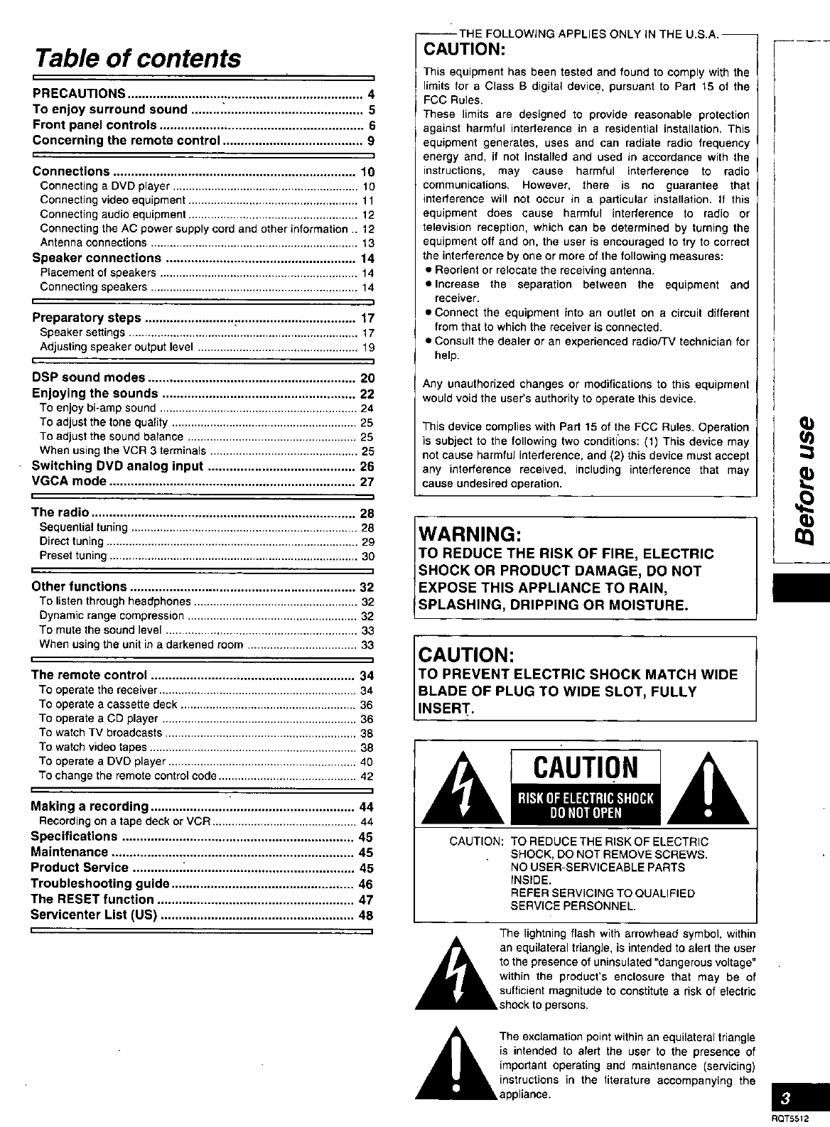 Page 3 of Technics Stereo Receiver SA-DX1040 User Guide