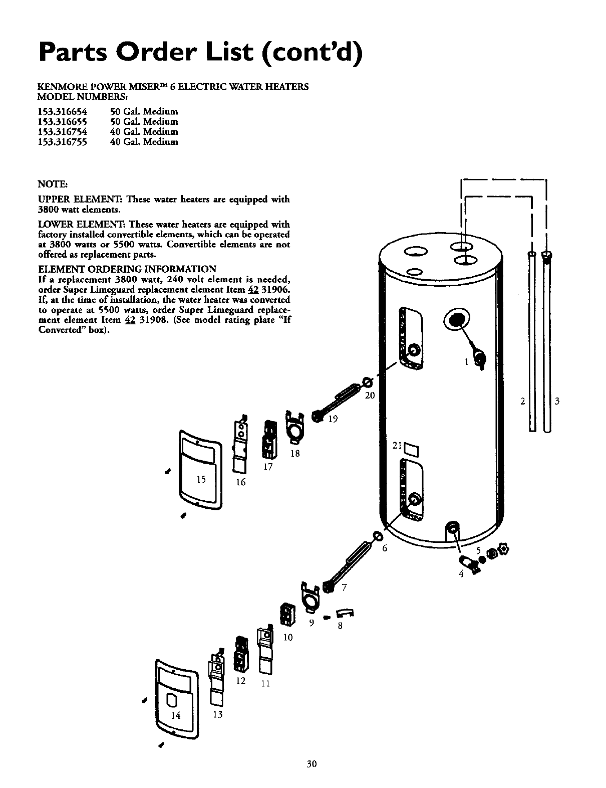 Page 30 of Kenmore Water Heater 153.316754 User Guide