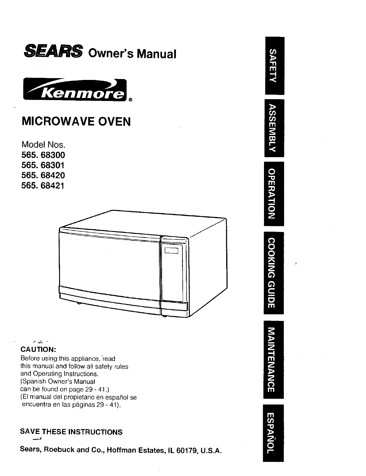 Kenmore Microwave Oven 565.68420 User Guide