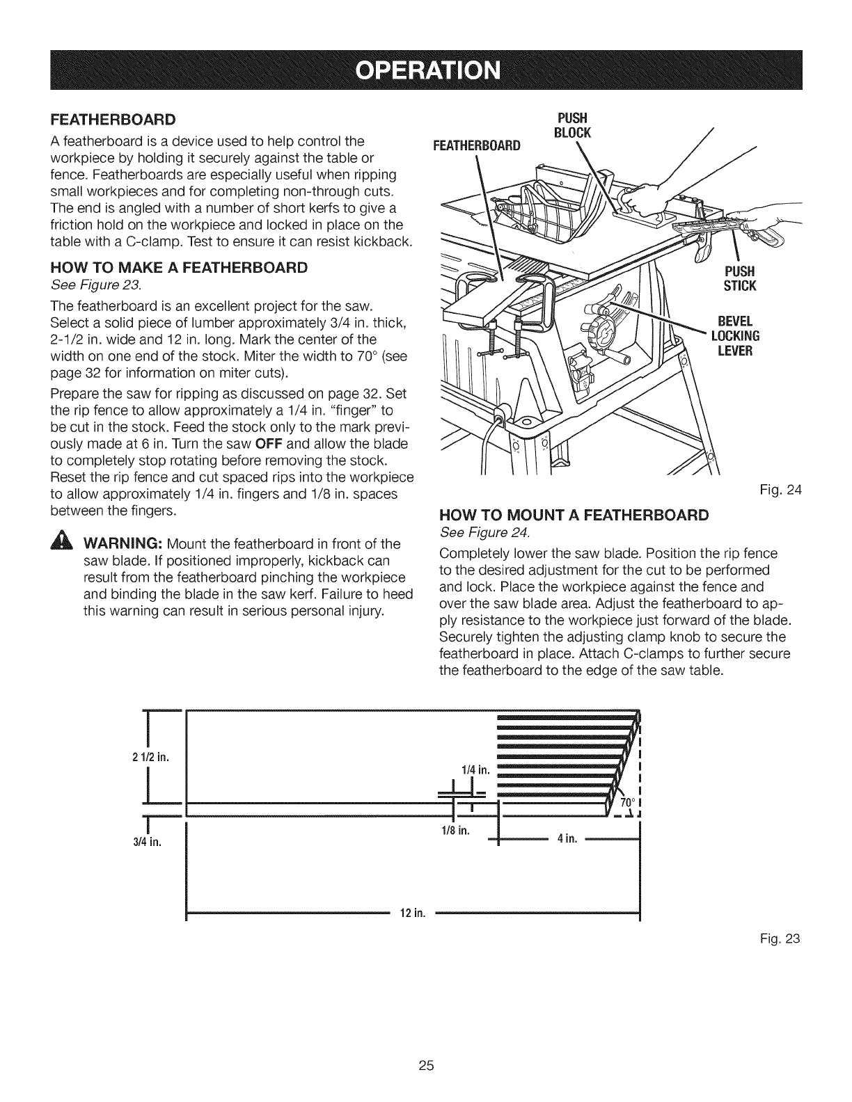 Page 25 of Craftsman Saw 315.28461 User Guide