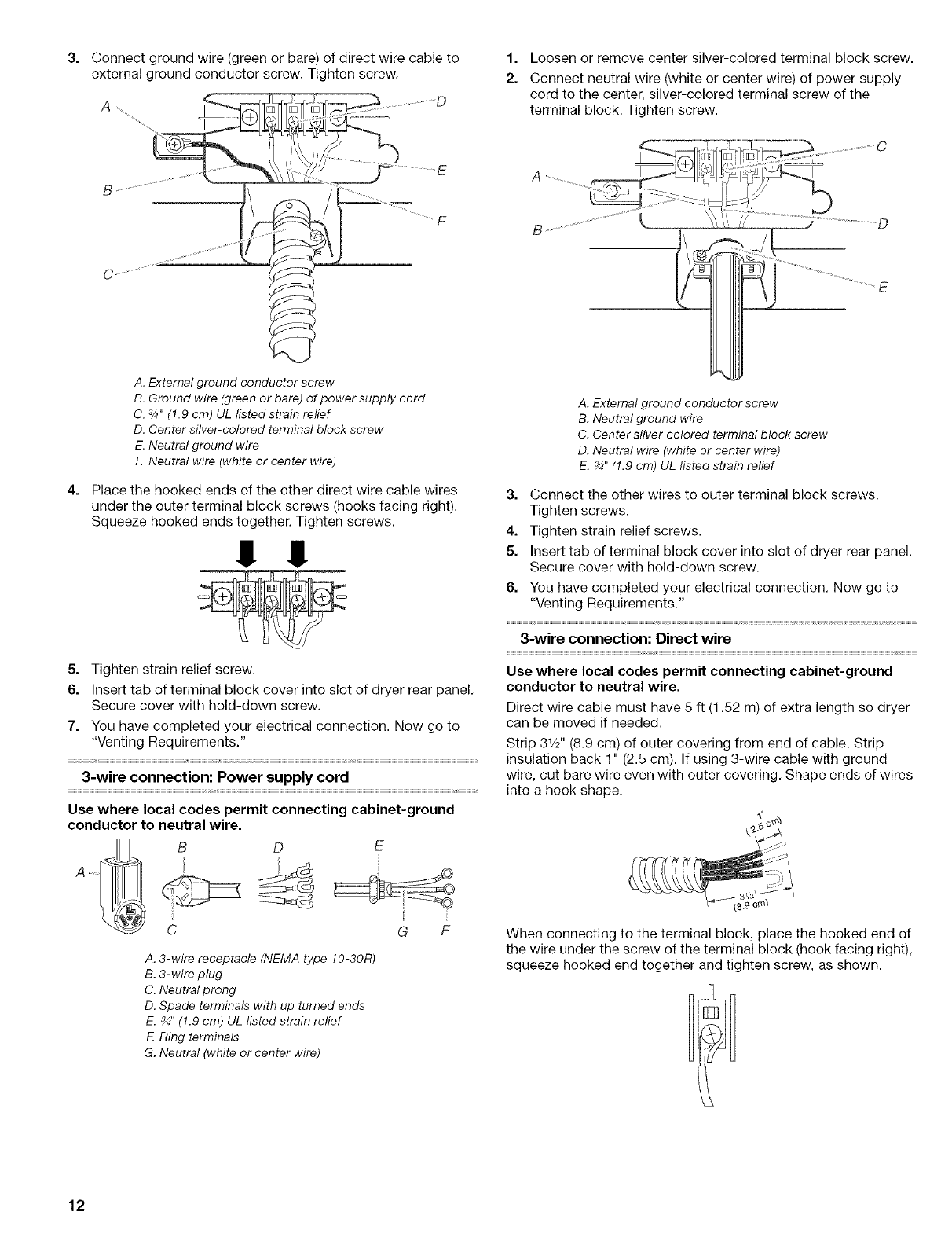 hight resolution of page 12 of kenmore clothes dryer 110 8586 user guide electric dryers direct 3wire connection